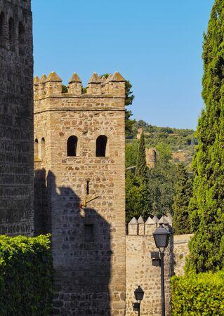 mancha: Spain, Castile La Mancha, Toledo, View of the city walls.