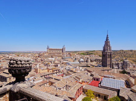 Spain, Castile La Mancha, Toledo, Old Town Skyline viewed from the San Ildefonso Church.