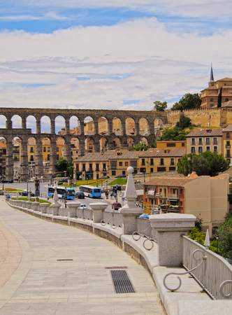 Spain, Castile and Leon, Segovia, Old Town, View of The Roman Aqueduct of Segovia.  Stock Photo