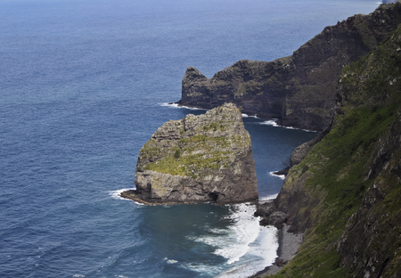 rocha: Portugal, Madeira, Santana, Elevated view towards the Rocha do Navio Reserve and Ponta de Catarina Pires.