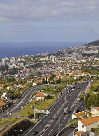 elevated: Portugal, Madeira, Elevated view of Funchal.
