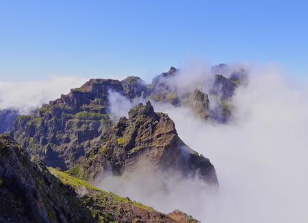 Portugal, Madeira, View of the mountains near Pico de Arieiro.
