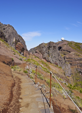 Portugal, Madeira, View towards the Pico do Arieiro.  Stock Photo