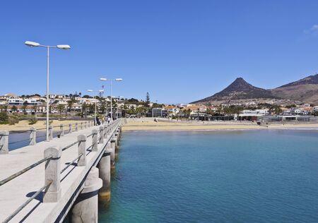 Portugal, Madeira Islands, Porto Santo, Vila Baleira, View of the pier. Stock Photo