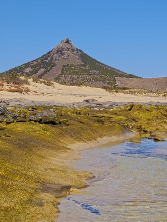 Portugal, Madeira Islands, Porto Santo, Ponta da Calheta, view of the rocky beach of Porto Santo Island.