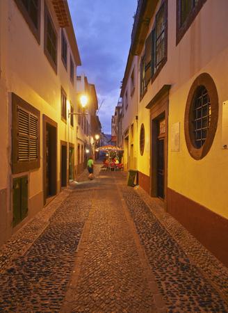 santa maria: Portugal, Madeira, Funchal, Twilight view of the Santa Maria Street.