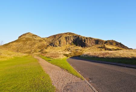 UK, Scotland, Lothian, Edinburgh, Holyrood Park, View towards the Arthurs Seat.  Stock Photo