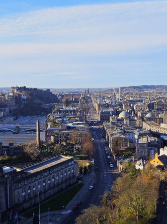 princes street: UK, Scotland, Lothian, Edinburgh, Calton Hill, View of the Princes Street with the Balmoral Hotel Clock Tower.  Stock Photo