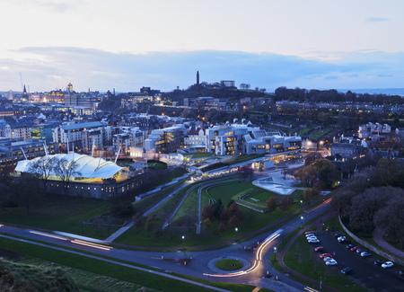 scottish parliament: UK, Scotland, Edinburgh, Twilight view towards Our Dynamic Earth, Scottish Parliament Building and the Calton Hill.