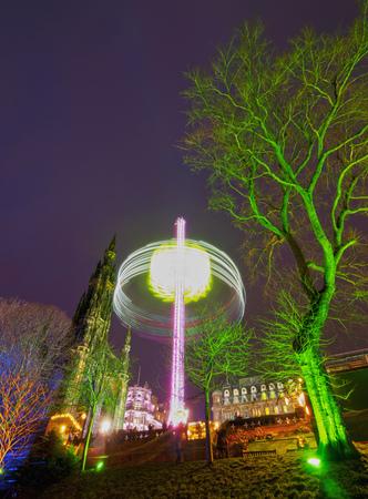 princes street: UK, Scotland, Lothian, Edinburgh, View of the Christmas Market on Princes Street.  Stock Photo