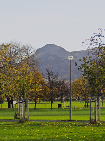 UK, Scotland, Lothian, Edinburgh, View of the Meadows Park with the Arthurs Seat Mountain in the background. Stock Photo