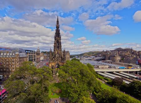 UK, Scotland, Lothian, Edinburgh, Princes Street Gardens, View of The Scott Monument. Editorial