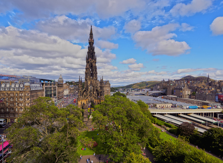princes street: UK, Scotland, Lothian, Edinburgh, Princes Street Gardens, View of The Scott Monument. Editorial