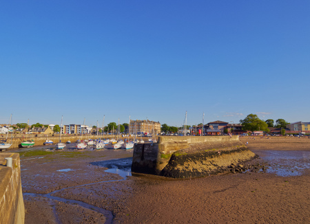 lothian: UK, Scotland, Edinburgh Area, Musselburgh, View of the Fisherrow Harbour at low tide. Stock Photo