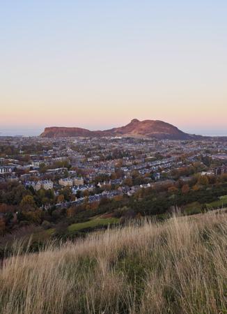 UK, Scotland, Edinburgh, View from the Blackford Hill towards the Holyrood Park.