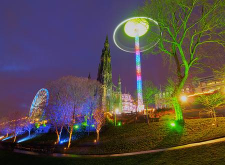 UK, Scotland, Lothian, Edinburgh, View of the Christmas Market on Princes Street.  Stock Photo