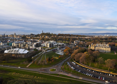 UK, Scotland, Cityscape of Edinburgh viewed from the Holyrood Park.