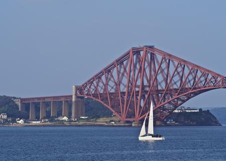 forth: UK, Scotland, Lothian, Edinburgh Area, Queensferry, View of the Forth Bridge.
