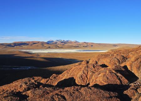 Bolivia, Potosi Department, Sur Lipez Province, View towards Laguna Morejon. Stock Photo