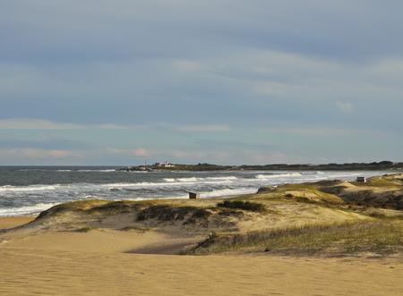 rocha: Uruguay, Rocha Department, Punta del Diablo, View of the la Viuda Beach. Stock Photo