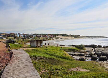 Uruguay, Rocha Department, View of the Punta del Diablo. Stock Photo