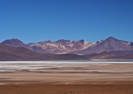 avaroa: Bolivia, Potosi Departmant, Sur Lipez Province, Eduardo Avaroa Andean Fauna National Reserve, Landscape of the Salar de Chalviri.  Stock Photo