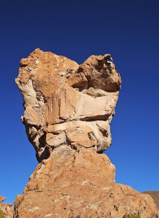 Bolivia, Potosi Departmant, Nor Lipez Province, Landscape of the Valle de las Rocas(Rocks Valley) with the characterictic Copa del Mundo(
