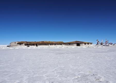Bolivia, Potosi Department, Daniel Campos Province, View of the Hotel de Sal Playa Blanca, the first salt hotel on Salar de Uyuni.