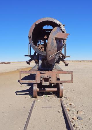 Bolivia, Potosi Department, Antonio Quijarro Province, Uyuni, View of the train cemetery.