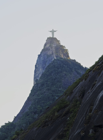 marta: Brazil, City of Rio de Janeiro, Christ the Redeemer Statue on top of the Corcovado Mountain viewed from Santa Marta. Editorial