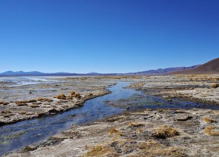 Bolivia, Potosi Departmant, Sur Lipez Province, Eduardo Avaroa Andean Fauna National Reserve, View of the Laguna Salada near hot springs.