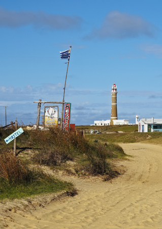 rocha: Uruguay, Rocha Department, View of the lighthouse in Cabo Polonio. Stock Photo