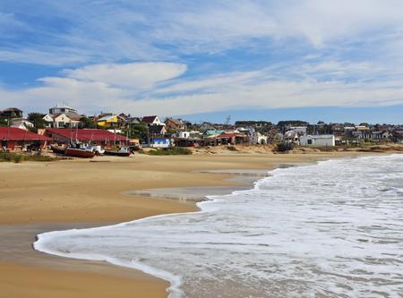 Uruguay, Rocha Department, Punta del Diablo, View of the Fisherman's Beach Los Botes. Stock Photo