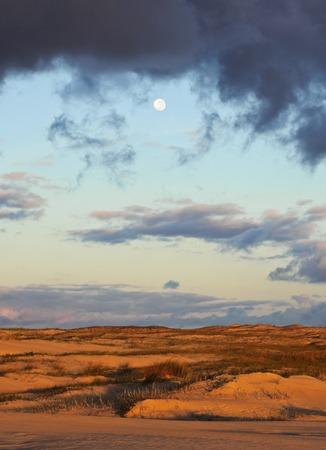 rocha: Uruguay, Rocha Department, Cabo Polonio, View of the dunes at sunrise. Stock Photo