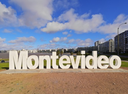 Uruguay, Montevideo, Pocitos, View of the Montevideo Sign. 新闻类图片