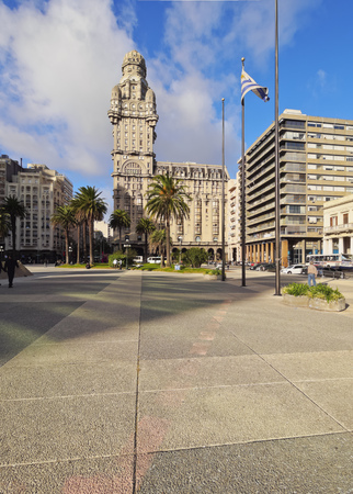 Uruguay, Montevideo, View of the Salvo Palace on the Independence Square. Editorial