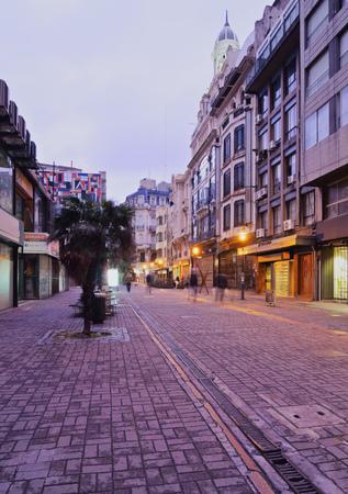 Uruguay, Montevideo, Old Town, Twilight view of the Sarandi Street. Stock Photo