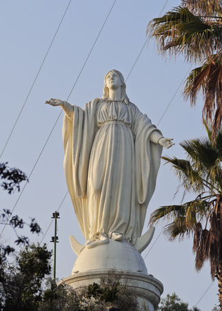 Chile, Santiago, Statue of the Virgin Mary on the top of the San Cristobal Hill.