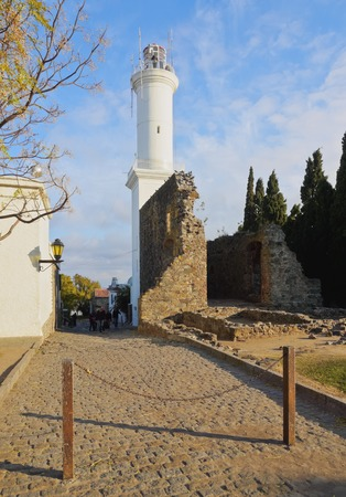 Uruguay, Colonia Department, Colonia del Sacramento, view of the Lighthouse and ruins of the Convent of San Francisco.