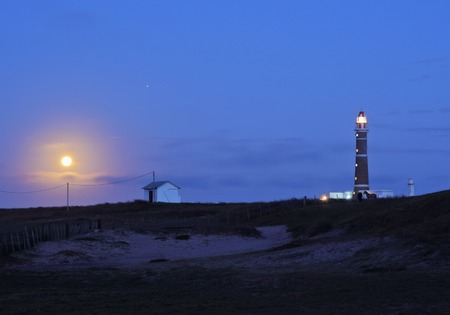 rocha: Uruguay, Rocha Department, Moonlight view of the lighthouse in Cabo Polonio.