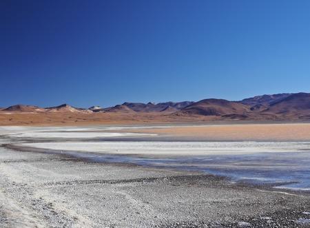 Bolivia, Potosi Departmant, Sur Lipez Province, Eduardo Avaroa Andean Fauna National Reserve, Landscape of the Laguna Colorada.