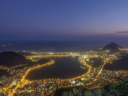 Brazil, City of Rio de Janeiro, Corcovado, Elevated view of the Rodrigo de Freitas Lagoon.
