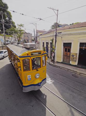 guimaraes: Brazil, City of Rio de Janeiro, The Santa Teresa Tram near Largo dos Guimaraes.