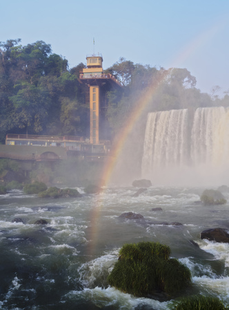 Brazil, State of Parana, Foz do Iguacu, Rainbow over Iguazu Falls.