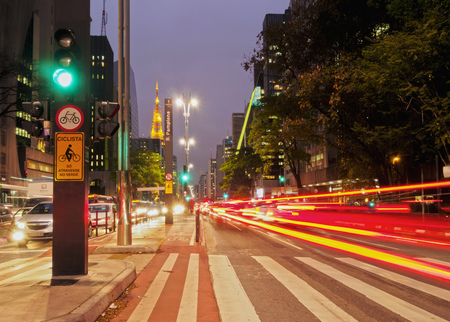 municipality: Brazil, State of Sao Paulo, City of Sao Paulo, Twilight view of the Paulista Avenue.