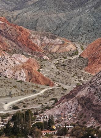 siete: Argentina, Jujuy Province, Purmamarca, Elevated view of the Hill of Seven Colours(Cerro de los Siete Colores).