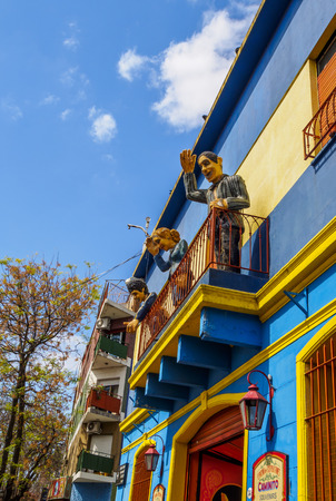 Argentina, Buenos Aires Province, City of Buenos Aires, View of the colourful La Boca Neighbourhood.