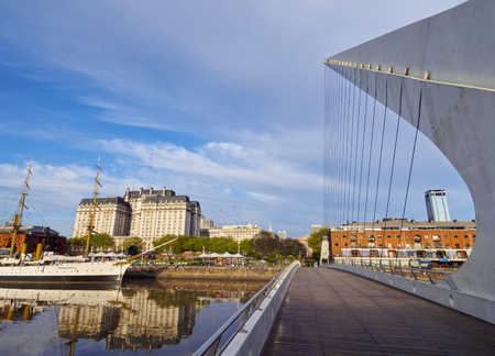 mujer: Argentina, Buenos Aires Province, City of Buenos Aires, View of Puente de la Mujer in Puerto Madero. Stock Photo