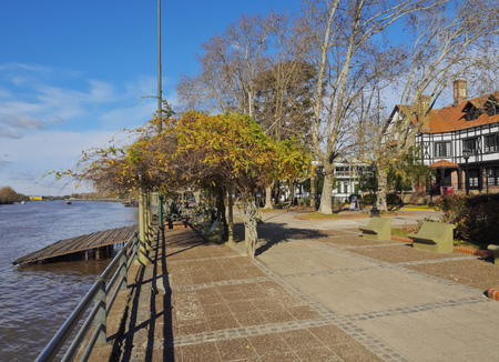 tigre: Argentina, Buenos Aires Province, Tigre, Promenade on the bank of the River Lujan Canal.