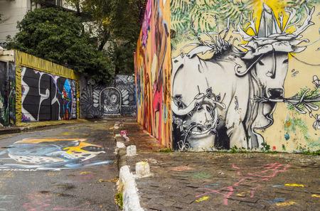 Brazil, State of Sao Paulo, City of Sao Paulo, Vila Madalena, Graffiti in Beco do Batman.